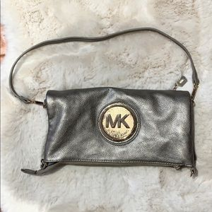 Michael Kors Leather platinum leather and Gold Bag
